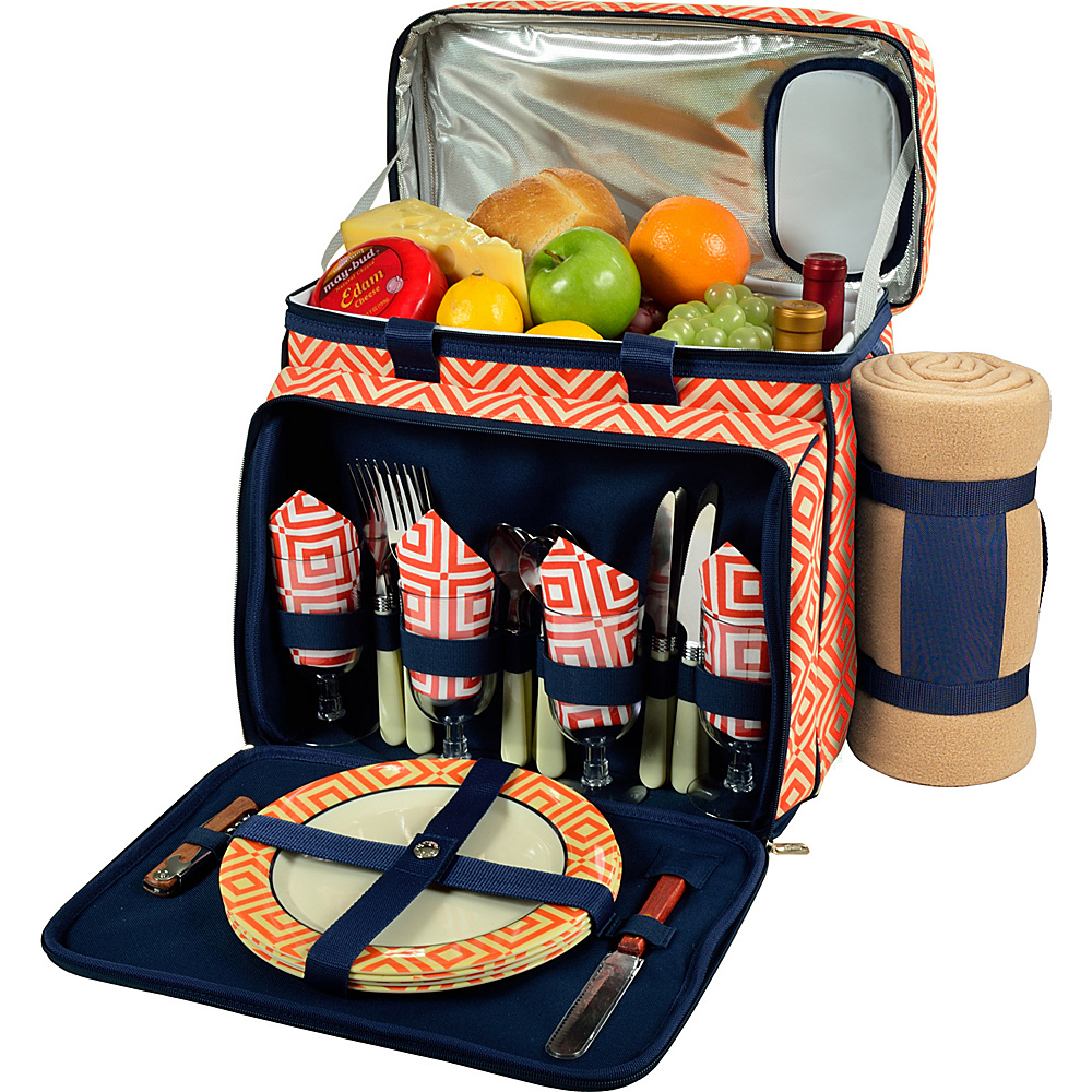 Picnic at Ascot Deluxe Picnic Cooler with Blanket Equipped for 4 Orange/Navy - Picnic at Ascot Outdoor Accessories - Outdoor, Outdoor Accessories