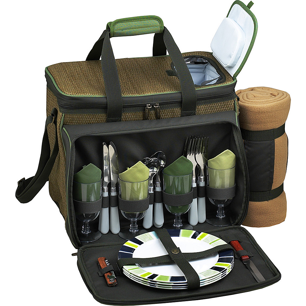 Picnic at Ascot Deluxe Picnic Cooler with Blanket Equipped for 4 Forest Green - Picnic at Ascot Outdoor Accessories - Outdoor, Outdoor Accessories