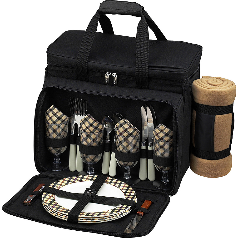 Picnic at Ascot Deluxe Picnic Cooler with Blanket Equipped for 4 Black w/London Plaid - Picnic at Ascot Outdoor Accessories - Outdoor, Outdoor Accessories