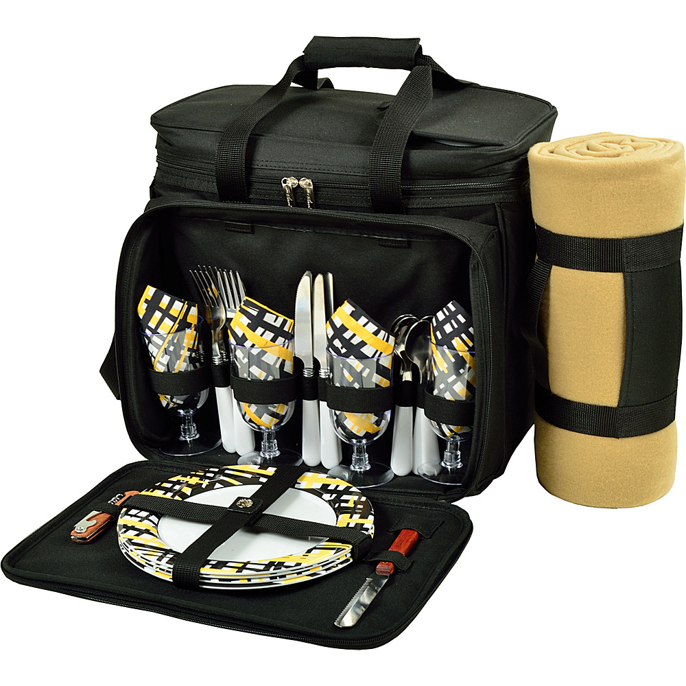 Picnic at Ascot Deluxe Picnic Cooler with Blanket Equipped for 4 Black with Paris - Picnic at Ascot Outdoor Accessories - Outdoor, Outdoor Accessories