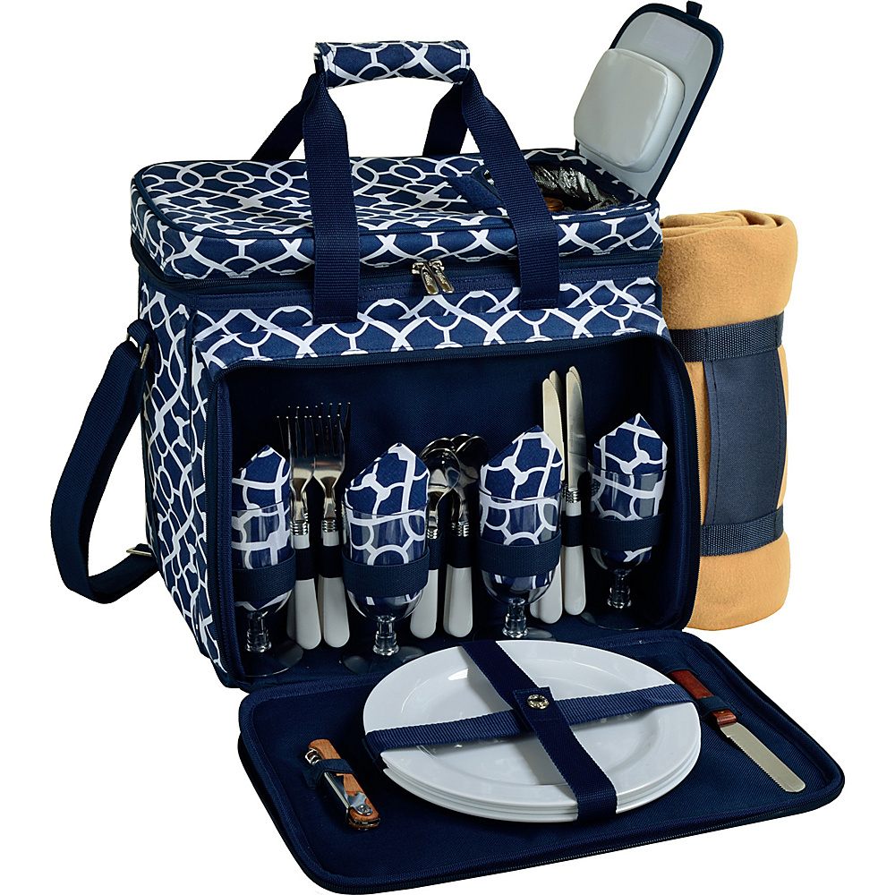 Picnic at Ascot Deluxe Picnic Cooler with Blanket Equipped for 4 Trellis Blue - Picnic at Ascot Outdoor Accessories - Outdoor, Outdoor Accessories