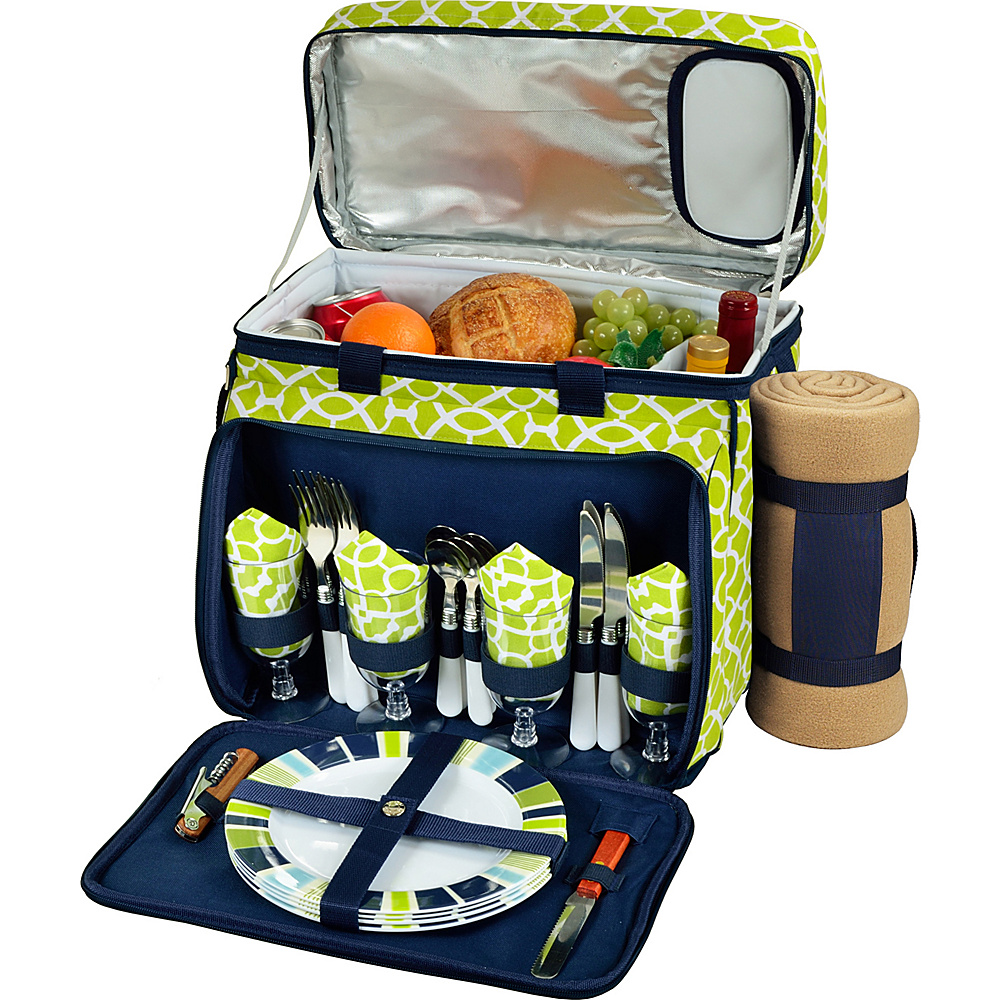 Picnic at Ascot Deluxe Picnic Cooler with Blanket Equipped for 4 Trellis Green - Picnic at Ascot Outdoor Accessories - Outdoor, Outdoor Accessories