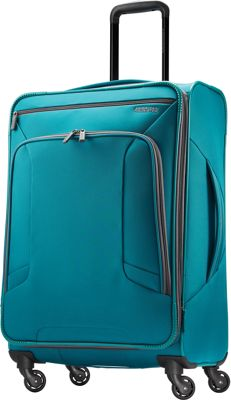 "Image of American Tourister 4 Kix 24"" Expandable Spinner Checked Luggage Teal - American Tourister Softside Checked"