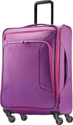 "Image of American Tourister 4 Kix 24"" Expandable Spinner Checked Luggage Purple/Pink - American Tourister Softside Checked"