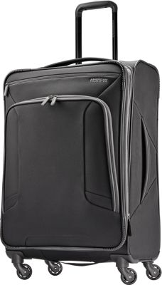 "Image of American Tourister 4 Kix 24"" Expandable Spinner Checked Luggage Black/Grey - American Tourister Softside Checked"