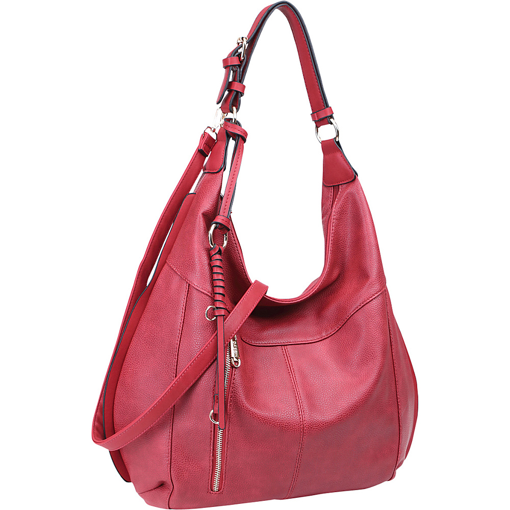 Dasein Vintage Convertible Hobo Burgundy - Dasein Manmade Handbags - Handbags, Manmade Handbags