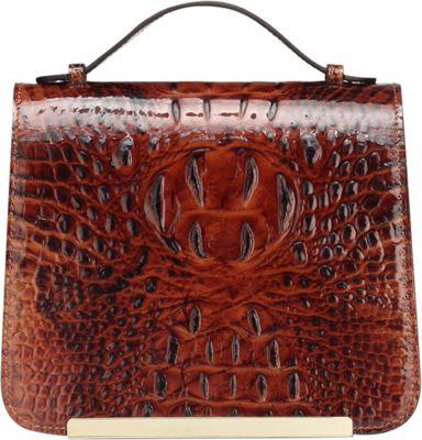 Vicenzo Leather Inaya Croc Embossed Leather Crossbody Handbag Chestnut - Vicenzo Leather Leather Handbags