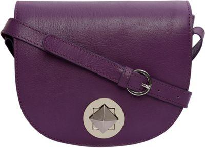 Phive Rivers Flapover Turn-Lock Leather Crossbody Purple - Phive Rivers Leather Handbags