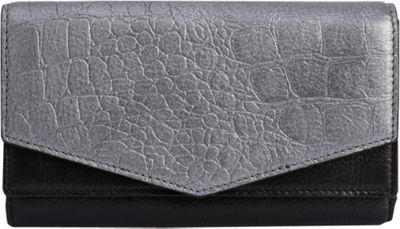 Phive Rivers Embossed Foiled Leather Multi-Compartment Clutch Wallet Black - Phive Rivers Women's Wallets