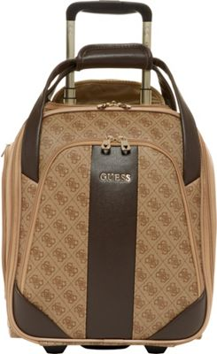 GUESS Travel Nissana 16 inch Wheeled Underseater Carry-On Luggage Brown with Gold Hardware - GUESS Travel Softside Carry-On