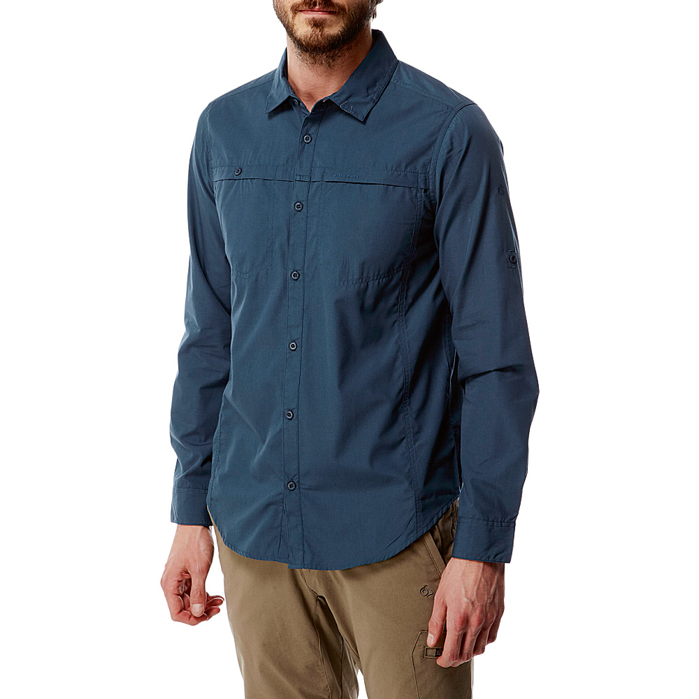 Craghoppers Kiwi Trek Long Sleeve Shirt L - Vintage Indigo - Craghoppers Mens Apparel - Apparel & Footwear, Men's Apparel