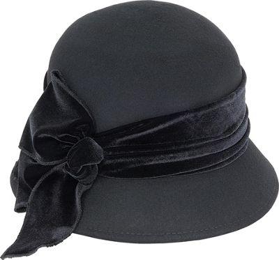 Adora Hats Velvet Bow Wool Felt Cloche One Size - Black - Adora Hats Hats/Gloves/Scarves
