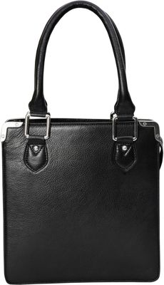 Phive Rivers NS Top Zip  Double Handle Tote Black - Phive Rivers Leather Handbags