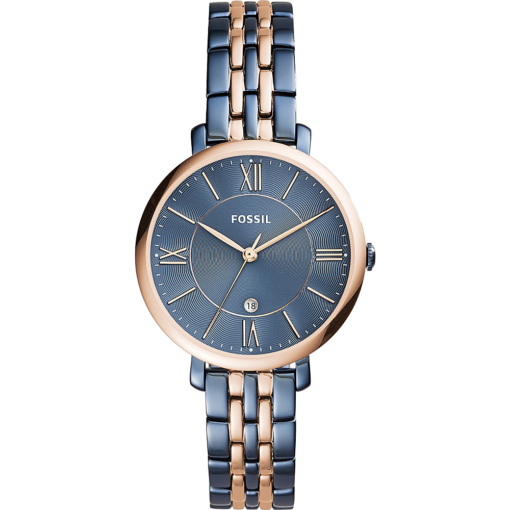 Fossil Jacqueline Three-Hand Date Two-Tone Stainless Steel Watch Blue - Fossil Watches - Fashion Accessories, Watches