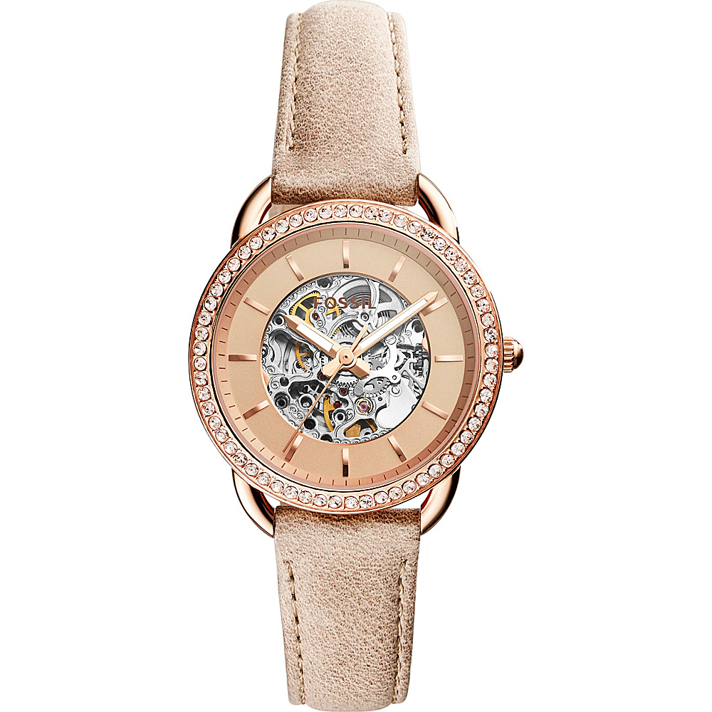 Fossil Tailor Automatic Three-Hand Leather Watch Beige - Fossil Watches - Fashion Accessories, Watches
