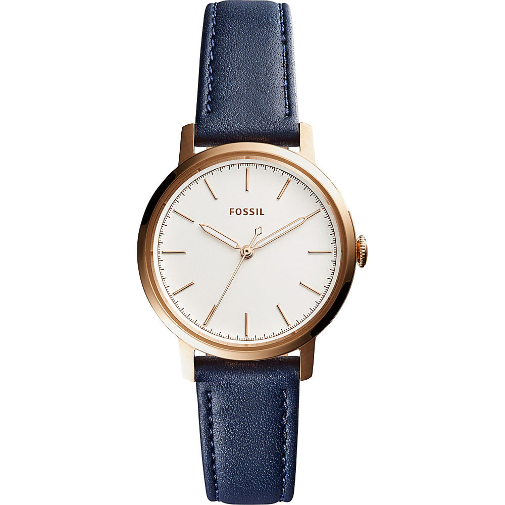 Fossil Neely Three-Hand Leather Watch Blue - Fossil Watches - Fashion Accessories, Watches