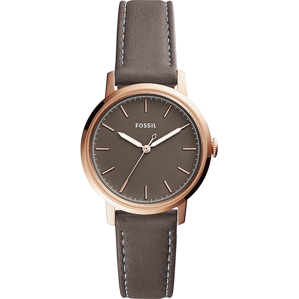 Fossil Neely Three-Hand Leather Watch Grey - Fossil Watches - Fashion Accessories, Watches