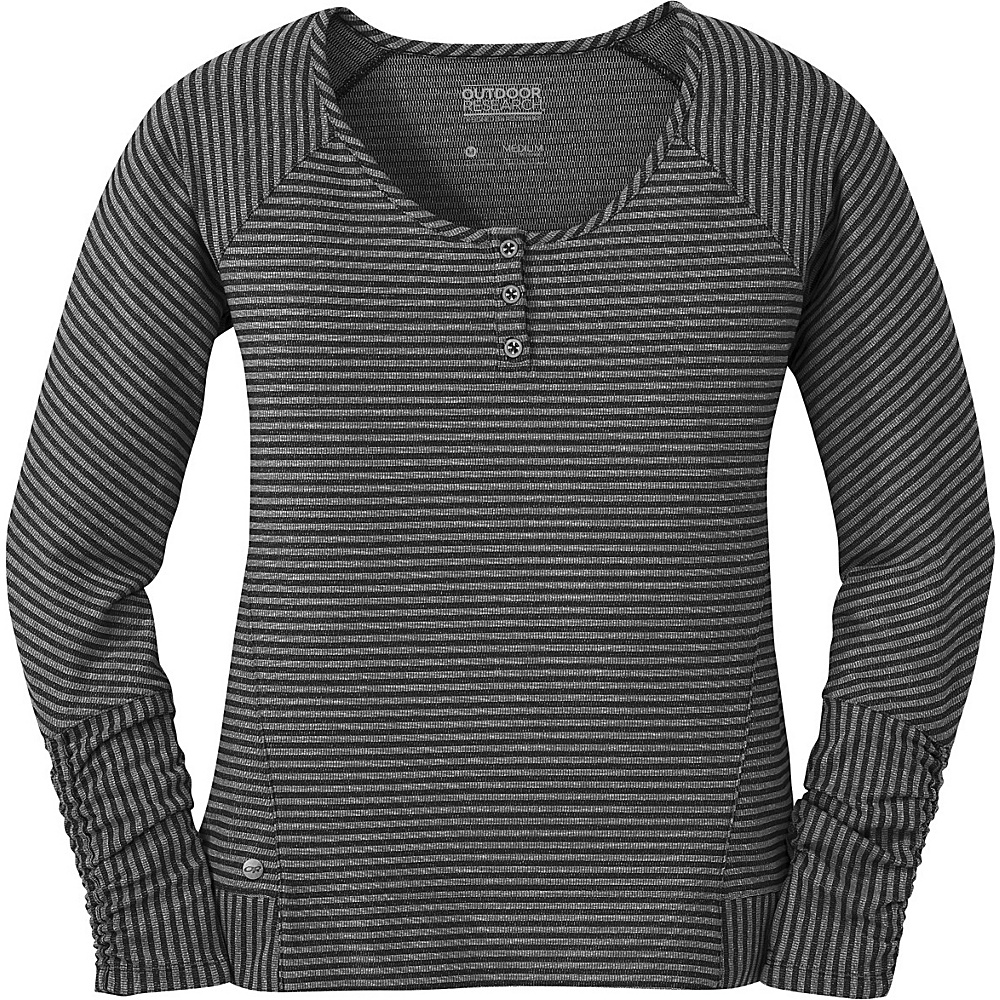 Outdoor Research Womens Mikala Henley Shirt XS - Black/Pewter - Outdoor Research Womens Apparel - Apparel & Footwear, Women's Apparel