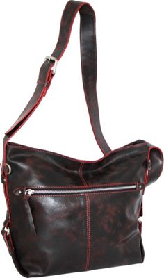 Nino Bossi Gillan Crossbody Hobo Black/Red - Nino Bossi Leather Handbags