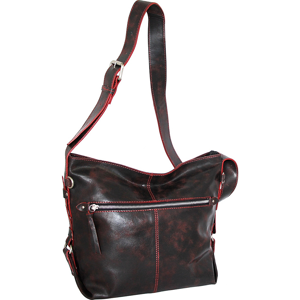 Nino Bossi Gillan Crossbody Hobo Black/Red - Nino Bossi Leather Handbags - Handbags, Leather Handbags