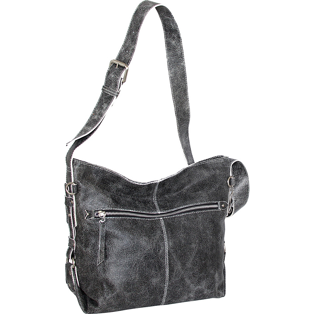 Nino Bossi Gillan Crossbody Hobo Black/White - Nino Bossi Leather Handbags - Handbags, Leather Handbags