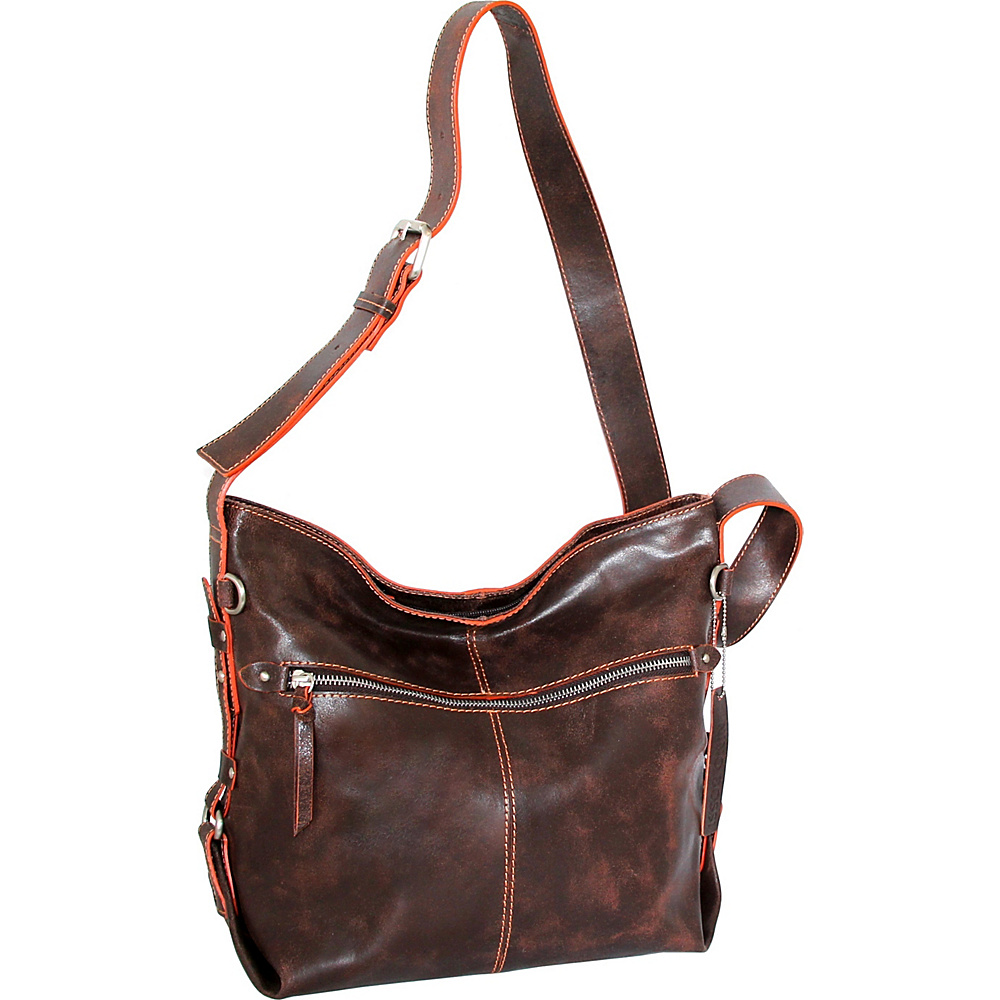 Nino Bossi Gillan Crossbody Hobo Chocolate/Orange - Nino Bossi Leather Handbags - Handbags, Leather Handbags