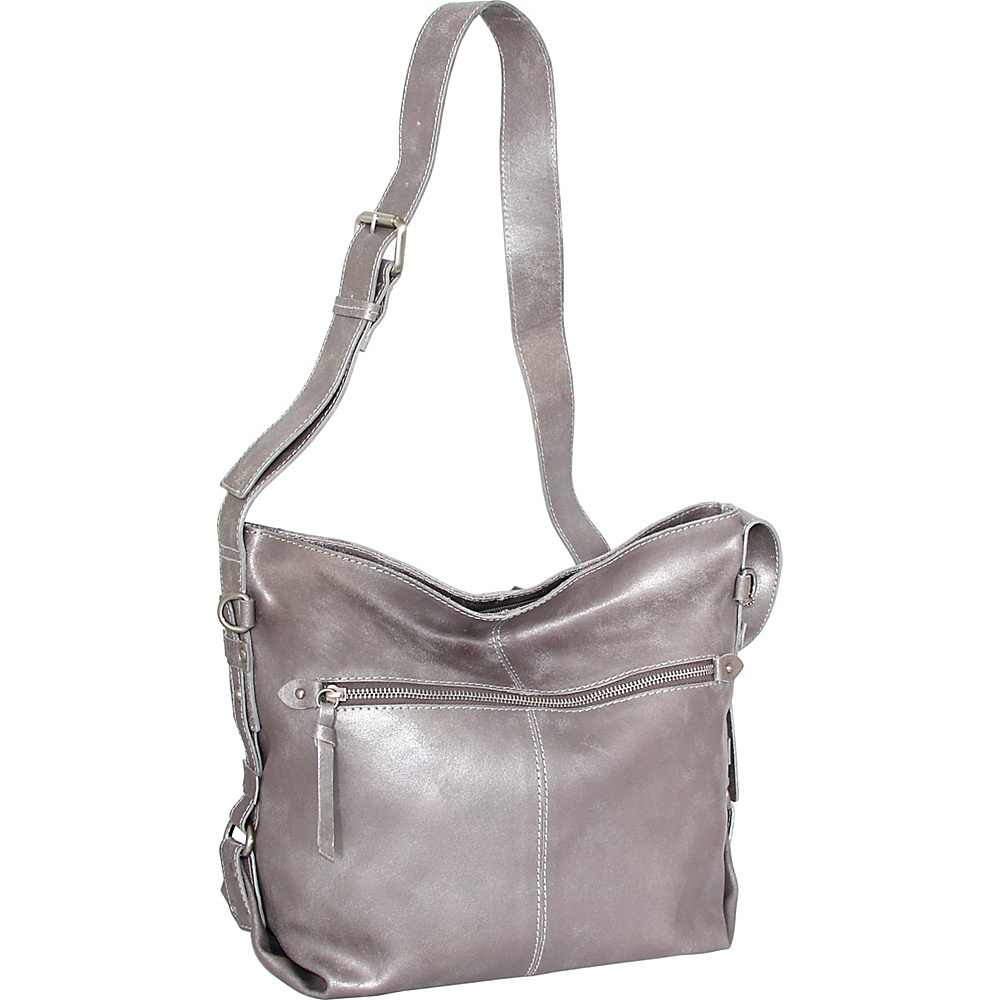 Nino Bossi Gillan Crossbody Hobo Pewter - Nino Bossi Leather Handbags - Handbags, Leather Handbags