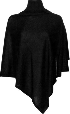 Kinross Cashmere Worsted Drapeneck Poncho One Size  - Black - Kinross Cashmere Women's Apparel