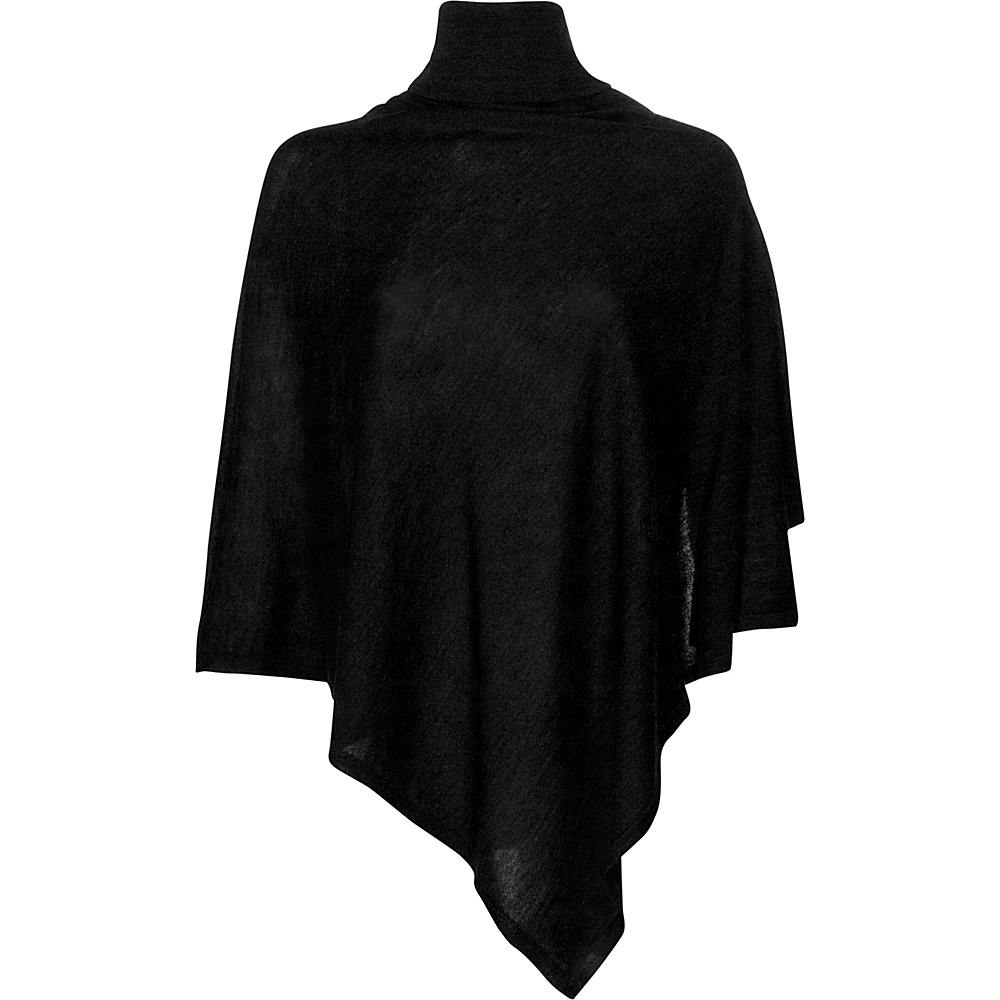 Kinross Cashmere Worsted Drapeneck Poncho One Size  - Black - Kinross Cashmere Womens Apparel - Apparel & Footwear, Women's Apparel