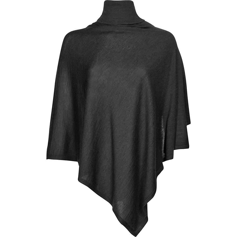 Kinross Cashmere Worsted Drapeneck Poncho One Size  - Charcoal - Kinross Cashmere Womens Apparel - Apparel & Footwear, Women's Apparel