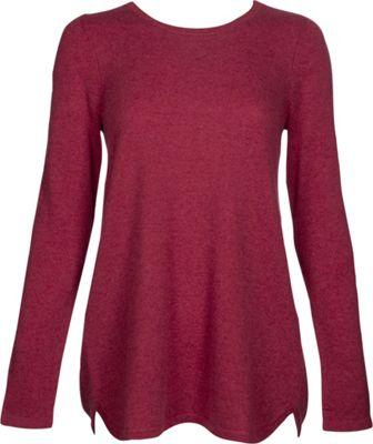 Kinross Cashmere Pleat Back Tunic L - Vermillion - Kinross Cashmere Women's Apparel
