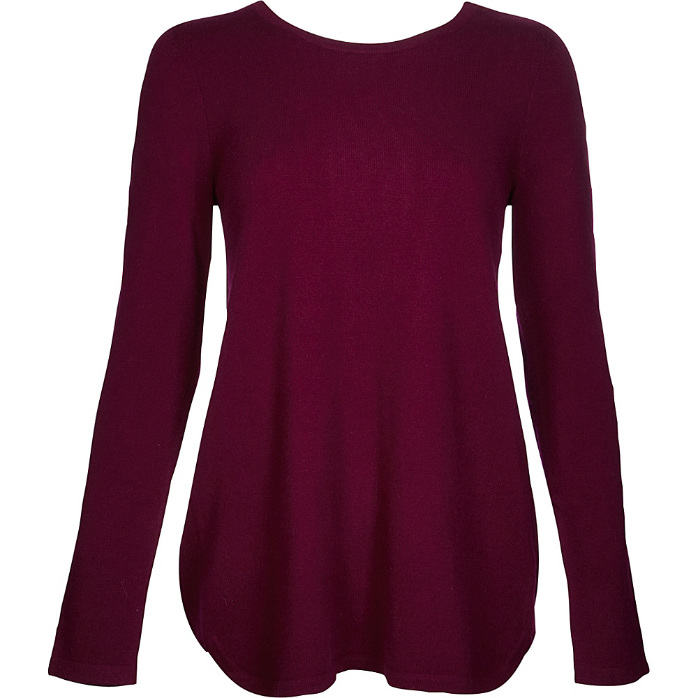 Kinross Cashmere Pleat Back Tunic XS - Cassis - Kinross Cashmere Womens Apparel - Apparel & Footwear, Women's Apparel