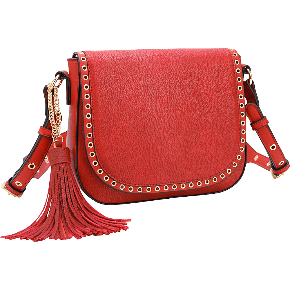 Dasein Front Flap Snap Closure Messenger Bag Red - Dasein Manmade Handbags - Handbags, Manmade Handbags