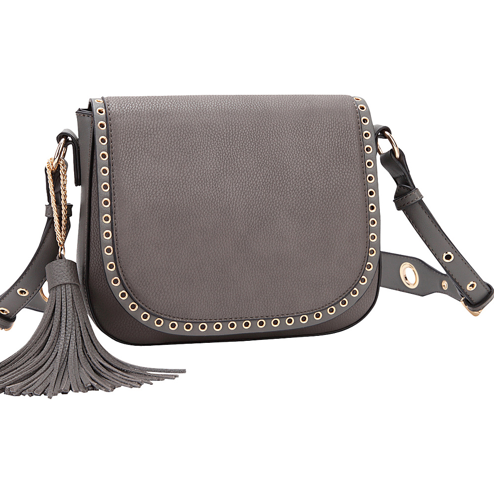 Dasein Front Flap Snap Closure Messenger Bag Grey - Dasein Manmade Handbags - Handbags, Manmade Handbags