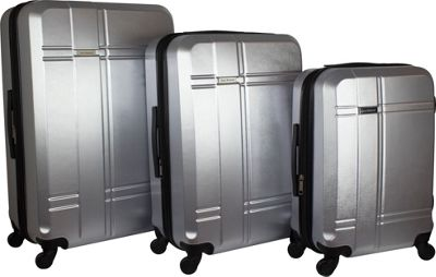 Isaac Mizrahi Conway 3 Piece Expandable Hardside Spinner Luggage Set Silver - Isaac Mizrahi Luggage Sets