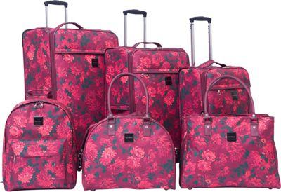 Isaac Mizrahi Irwin 6 Piece Luggage Set Berry - Isaac Mizrahi Luggage Sets