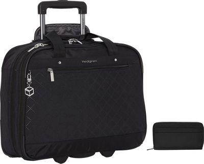 "Hedgren Onyx 15.6"""" Mobile Office Plus Won RFID Travel Wallet Set Black - Hedgren Wheeled Business Cases"