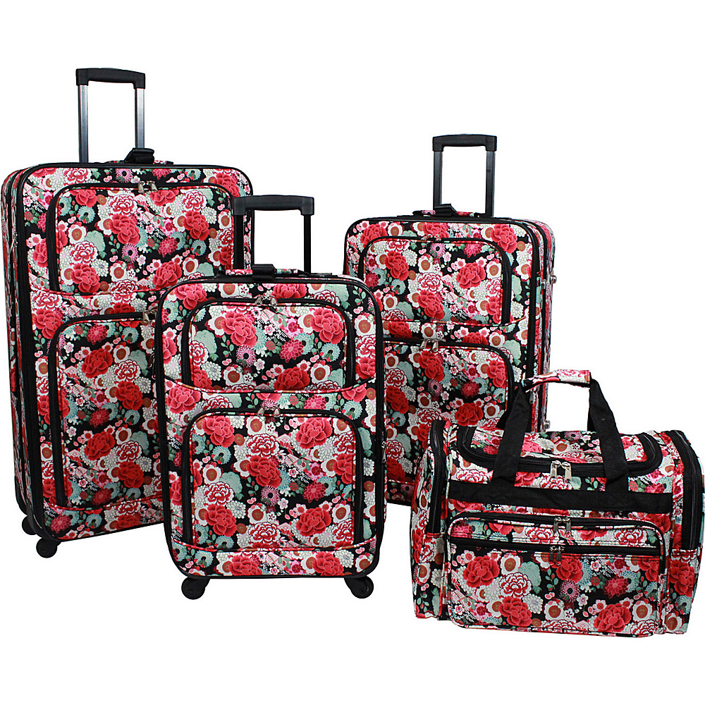 World Traveler Floral 4 Piece Rolling Expandable Spinner Luggage Set Floral - World Traveler Luggage Sets - Luggage, Luggage Sets