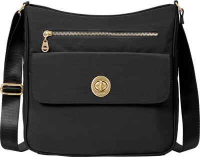 Image of baggallini Antalya Top Zip Flap Crossbody Black - baggallini Fabric Handbags