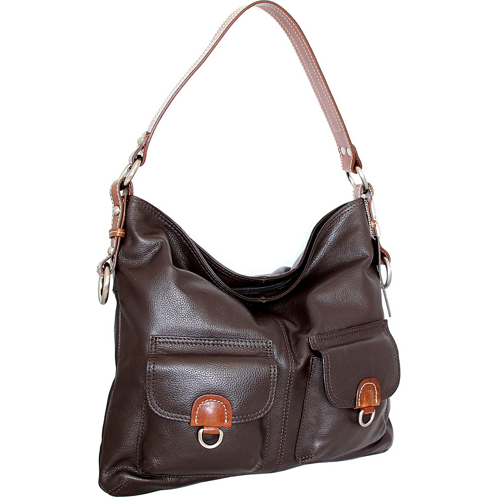 Nino Bossi Gabriella Shoulder Bag Chocolate - Nino Bossi Leather Handbags - Handbags, Leather Handbags