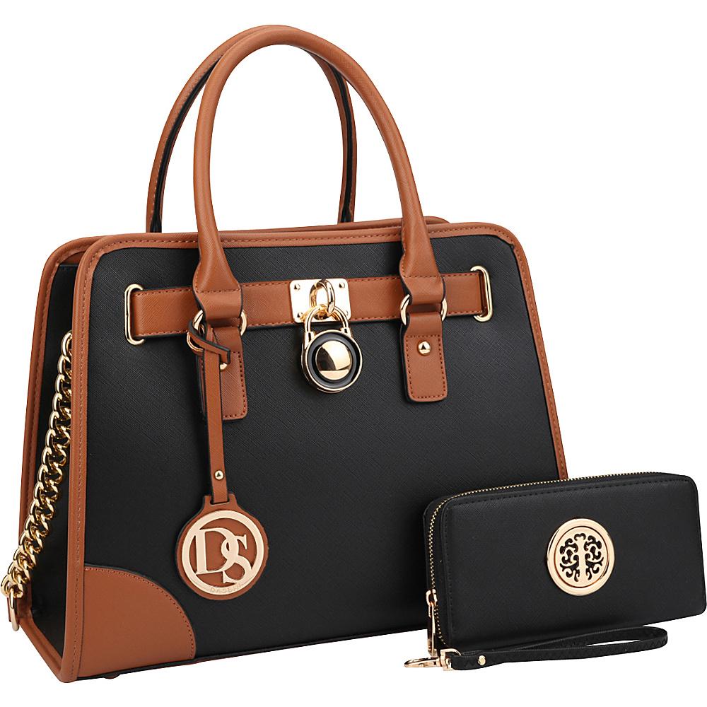 Dasein Fashion Chain Strap Medium Satchel with Matching Wallet Black - Dasein Manmade Handbags - Handbags, Manmade Handbags