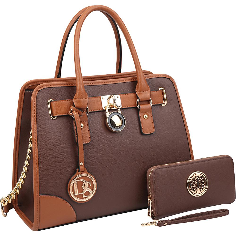 Dasein Fashion Chain Strap Medium Satchel with Matching Wallet Coffee - Dasein Manmade Handbags - Handbags, Manmade Handbags
