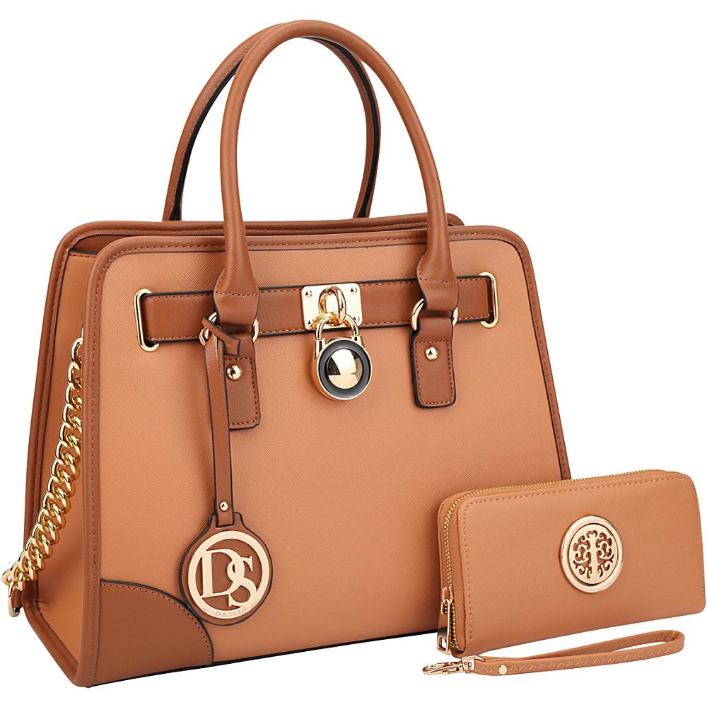 Dasein Fashion Chain Strap Medium Satchel with Matching Wallet Brown - Dasein Manmade Handbags - Handbags, Manmade Handbags