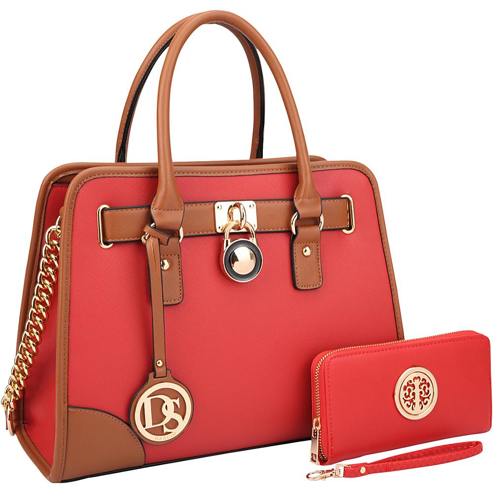 Dasein Fashion Chain Strap Medium Satchel with Matching Wallet Red - Dasein Manmade Handbags - Handbags, Manmade Handbags