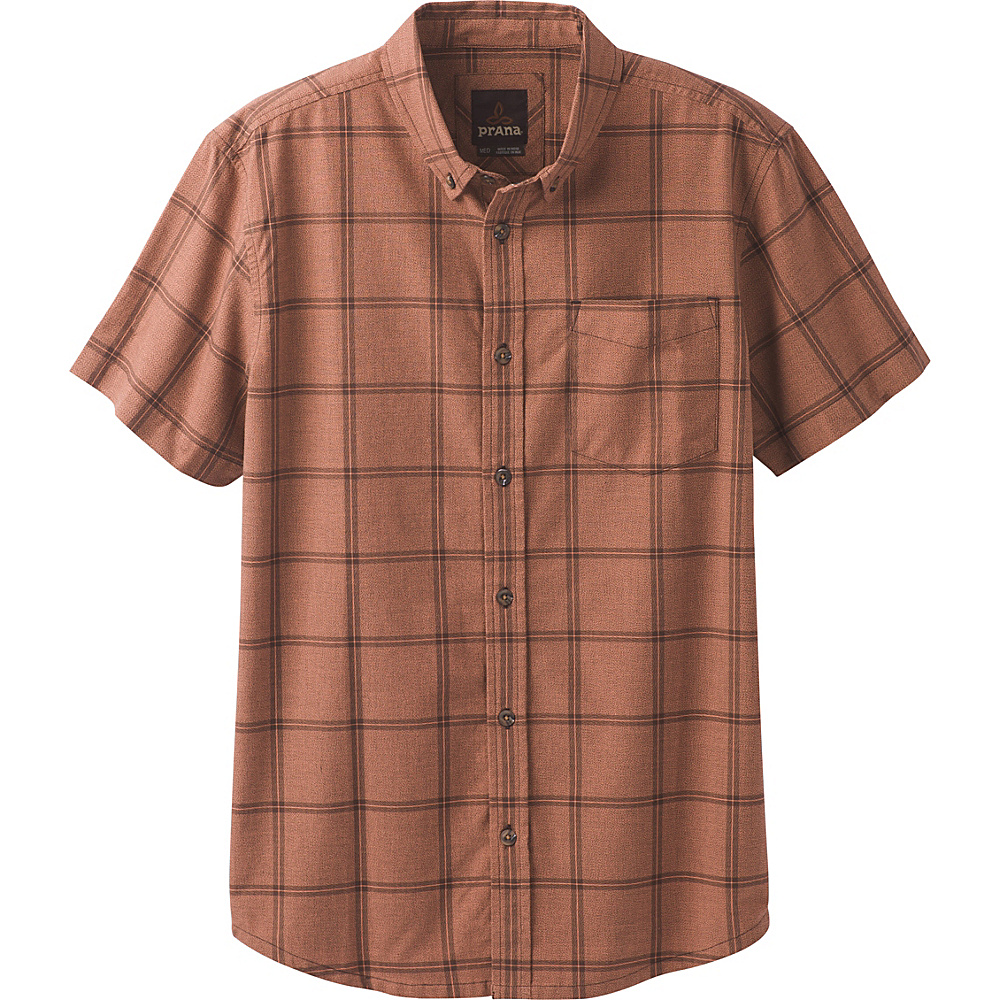 PrAna Broderick Window Pane Short Sleeve Shirt XL - Brown Cloves - PrAna Mens Apparel - Apparel & Footwear, Men's Apparel