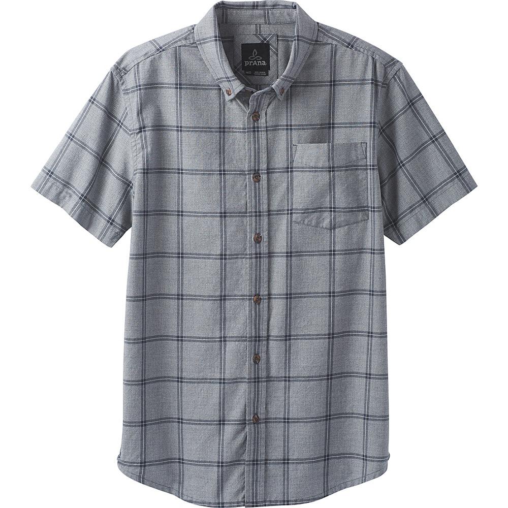 PrAna Broderick Window Pane Short Sleeve Shirt XXL - Coal - PrAna Mens Apparel - Apparel & Footwear, Men's Apparel