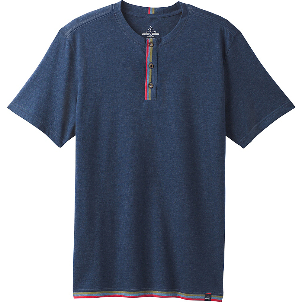 PrAna Garrity Short Sleeve Henley Shirt M - Equinox Blue Heather - PrAna Mens Apparel - Apparel & Footwear, Men's Apparel