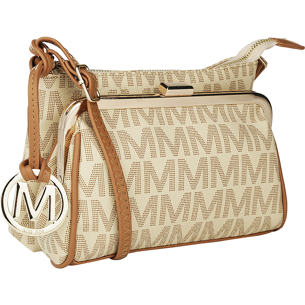 MKF Collection by Mia K. Farrow Caylee Signature Double Compartment Crossbody Beige - MKF Collection by Mia K. Farrow Fabric Handbags - Handbags, Fabric Handbags