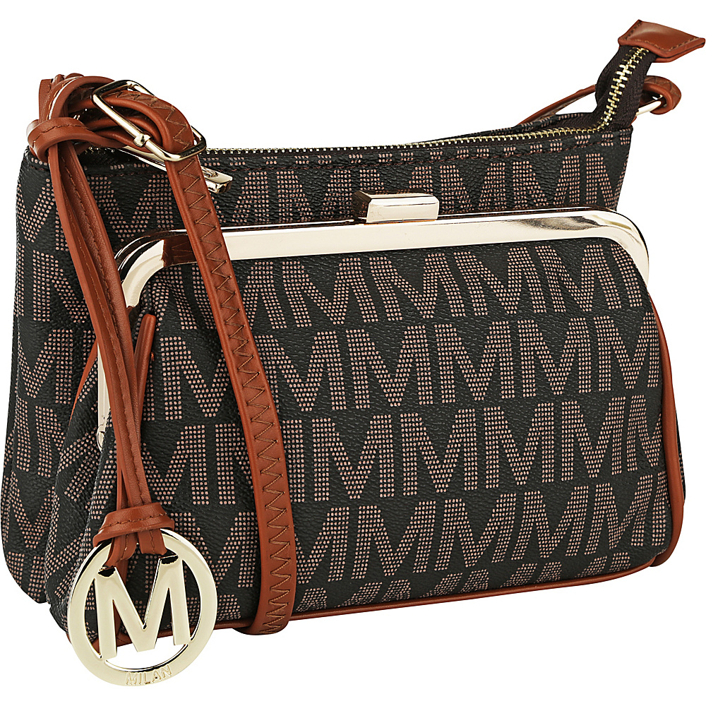 MKF Collection by Mia K. Farrow Caylee Signature Double Compartment Crossbody Brown - MKF Collection by Mia K. Farrow Fabric Handbags - Handbags, Fabric Handbags