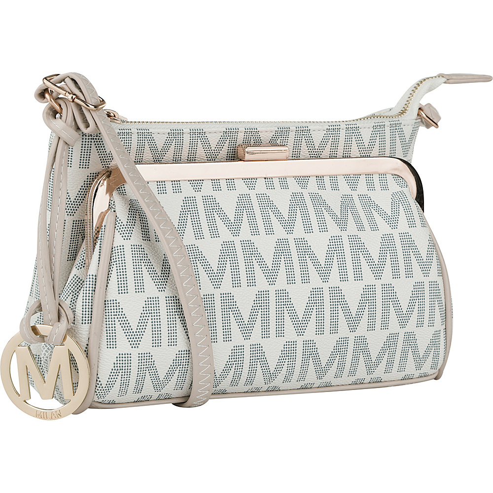 MKF Collection by Mia K. Farrow Caylee Signature Double Compartment Crossbody White - MKF Collection by Mia K. Farrow Fabric Handbags - Handbags, Fabric Handbags